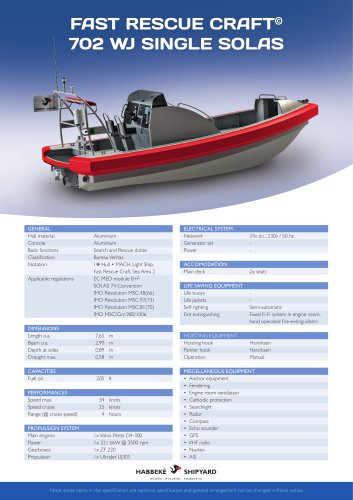 Fast Rescue Craft 702 WJ single solas
