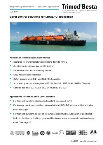 Level control solutions for LNG/LPG cargo ships