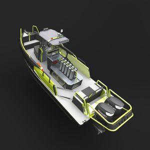 lancha de console central com motor de popa