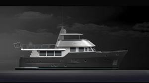 iate a motor de expedição / trawler / com flybridge / com casco de deslocamento
