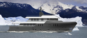 super-iate de expedição / trawler / com casa do leme