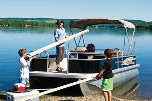 barco profissional barco de trabalho / com motor de centro / pontoon boat / em alumínio