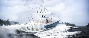 lancha walkaround com motor de popa / trimotor / com console central / de pesca esportiva