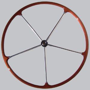 roda de leme para veleiro / em aço inox / em mogno / tradicional