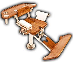 cadeira de comando em teca / para barco / com braços