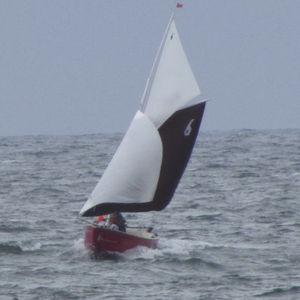veleiro mini / tradicional / de popa aberta / em fibra de vidro