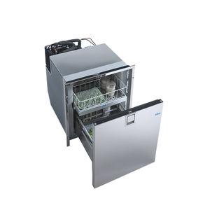 geladeira com freezer para barco / de embutir / em aço inox / com gavetas