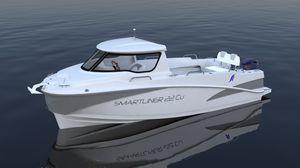 barco de pesca-passeio com motor de popa / com hard-top / em fibra de vidro / máx. 7 pessoas