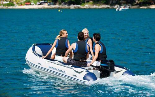 barco inflável com motor de popa / dobrável / bote auxiliar para iate / máx. 6 pessoas
