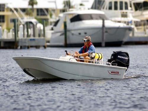 lancha de console central com motor de popa / com console central / de pesca esportiva