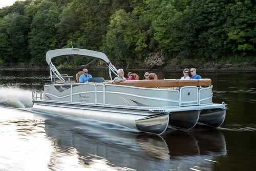 pontoon boat com motor de popa / tri-tube / com deck duplo / máx. 24 pessoas