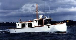 trawler com motor de centro / em madeira