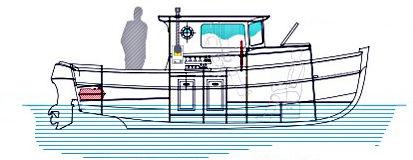 lancha Day Cruiser com motor de centro / fluvial / clássica