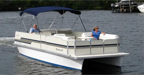 pontoon boat com motor de centro / elétrico / de pesca esportiva