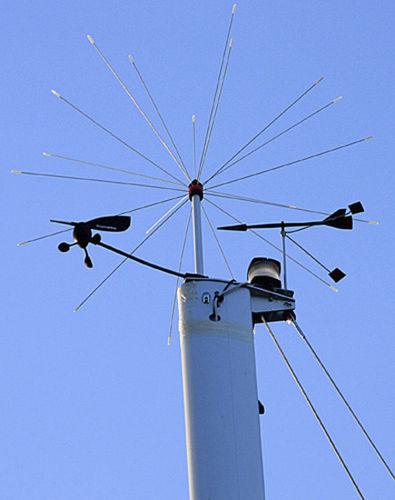 dispositivo antipássaros tipo espantalho para topo de mastro de barco