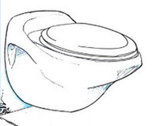 vaso sanitário náutico / de aspiração por vácuo / suspenso / em cerâmica