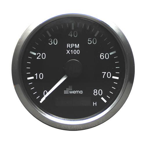conta-giros analógico / para barco / com horímetro de motor