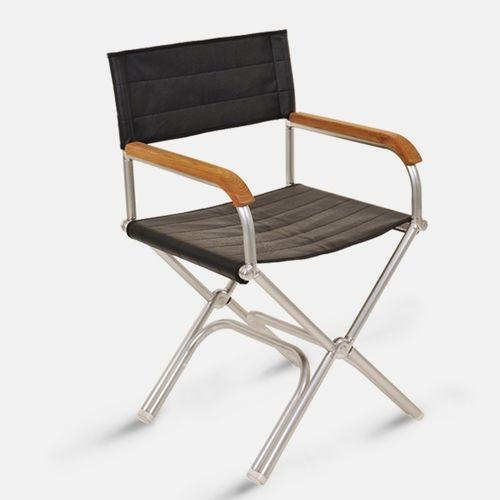 cadeira estilo diretor de cinema para barco / dobrável / em teca / em alumínio