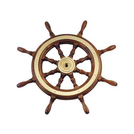 volante para barco a motor em aço inox / em mogno / tradicional
