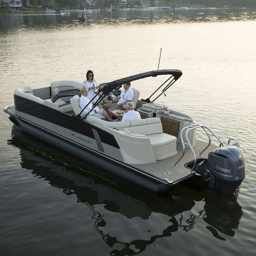 pontoon boat com motor de popa / tri-tube / de wakeboard / para esqui aquático