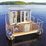 barco-casa catamarã / com motor de popa / máx. 4 pessoas