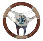 volante para barco a motor em madeira